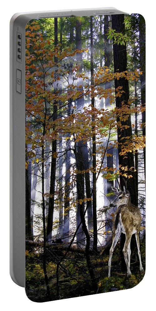 Deer Portable Battery Charger featuring the photograph Alone In The Mist by Diane Schuster