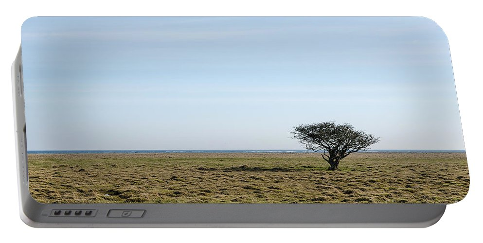 Alone Portable Battery Charger featuring the photograph Alone Tree At A Coastal Grassland by Kennerth and Birgitta Kullman