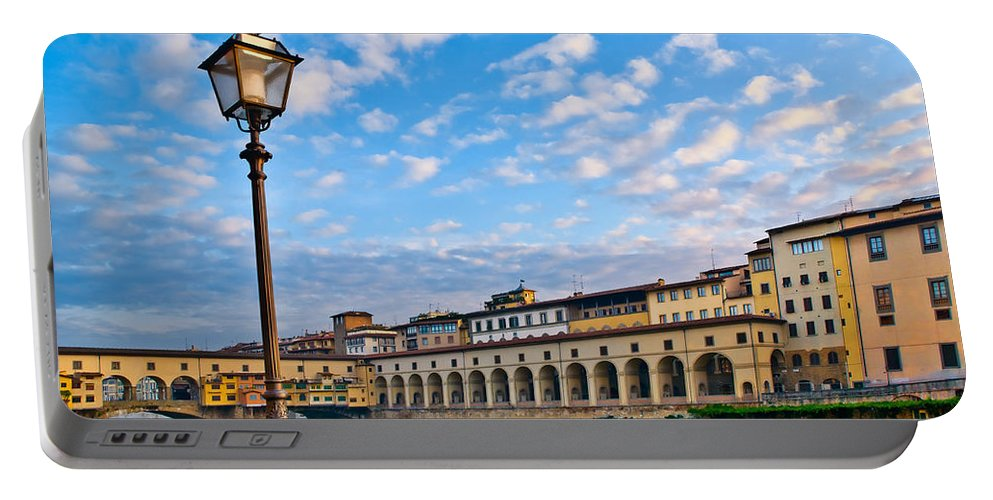 Florence Portable Battery Charger featuring the photograph Along The Arno #2 by Mick Burkey