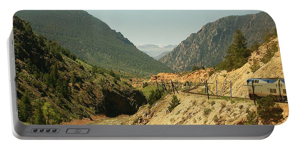 Amtrak Portable Battery Charger featuring the photograph Along The River by Steve Ondrus