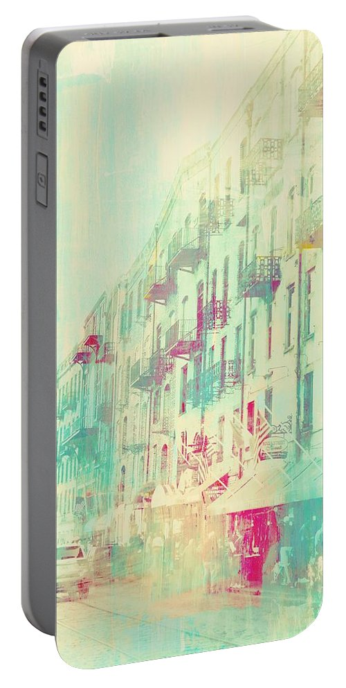 Abstract Portable Battery Charger featuring the photograph Along The Wharf by Barbie Guitard