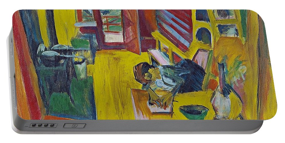 1918 Portable Battery Charger featuring the painting Alpine Kitchen by Ernst Ludwig Kirchner