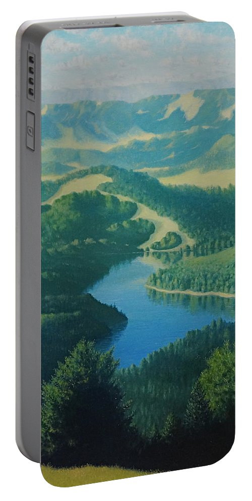 River Portable Battery Charger featuring the painting Alpine Lake by Karma Moffett