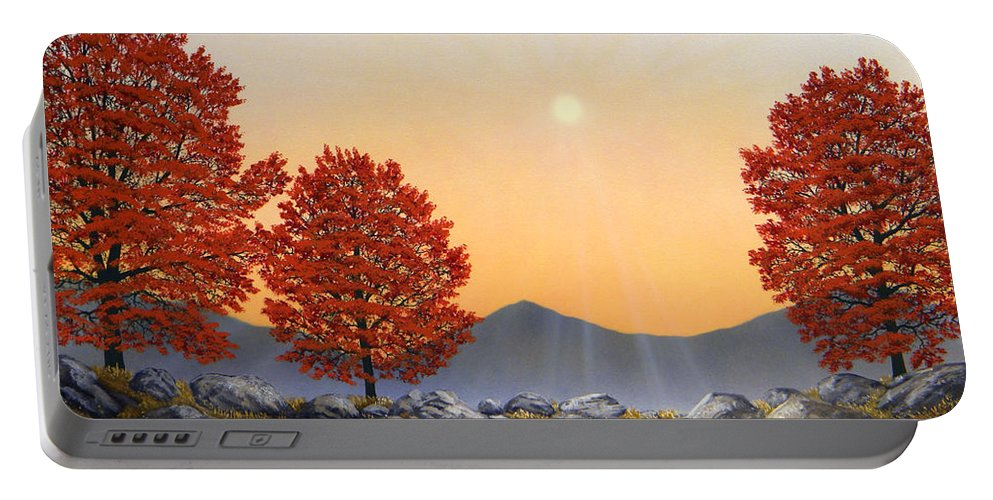 Mountains Portable Battery Charger featuring the painting Alpine Meadow II by Frank Wilson