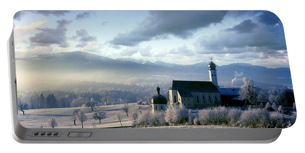 Alpine Portable Battery Charger featuring the photograph Alpine Scenery With Church In The Frosty Morning by Michal Bednarek