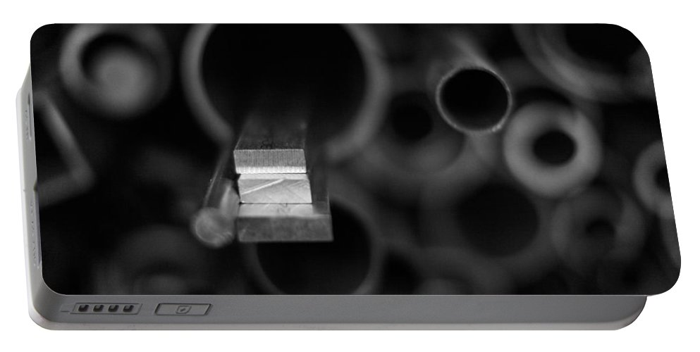 Abstract Portable Battery Charger featuring the photograph Aluminum by Robert Hayton
