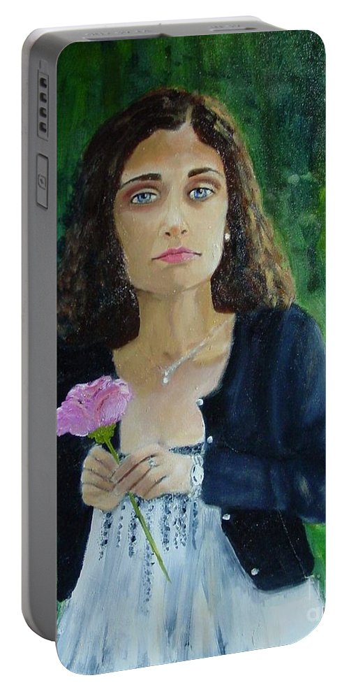 Portrait Portable Battery Charger featuring the painting Aly by Laurie Morgan
