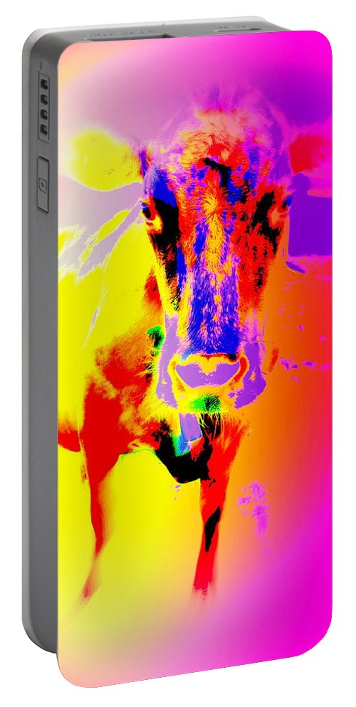 Cow Portable Battery Charger featuring the photograph Lets Face It, You Are Dreaming Of A Fucking Amazing Cow Staring Right At You  by Hilde Widerberg