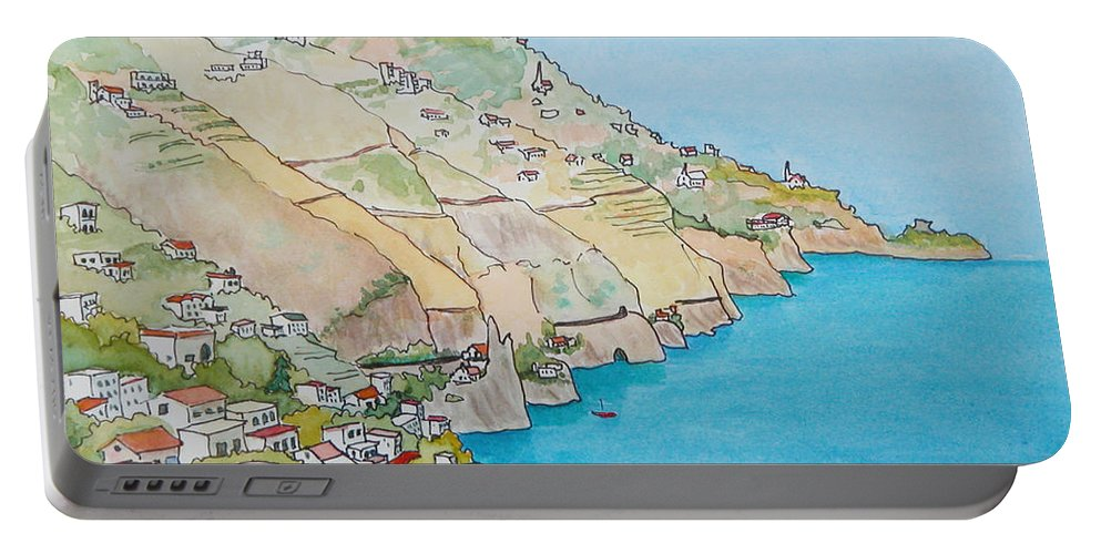 Landscape Portable Battery Charger featuring the painting Amalfi Coast Praiano Italy by Mary Ellen Mueller Legault