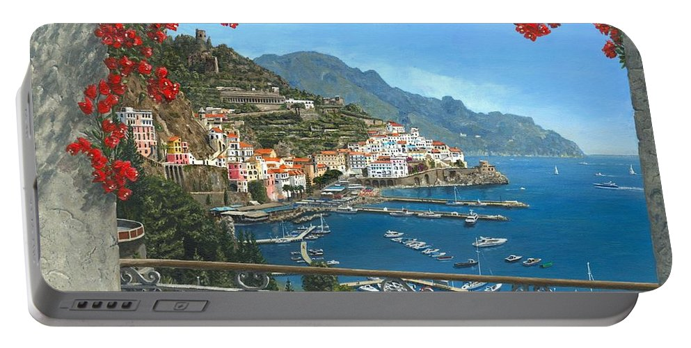 Landscape Portable Battery Charger featuring the painting Amalfi Vista by Richard Harpum