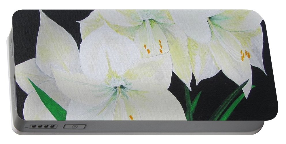 Amaryllis Portable Battery Charger featuring the painting Amaryllis by Sally Rice