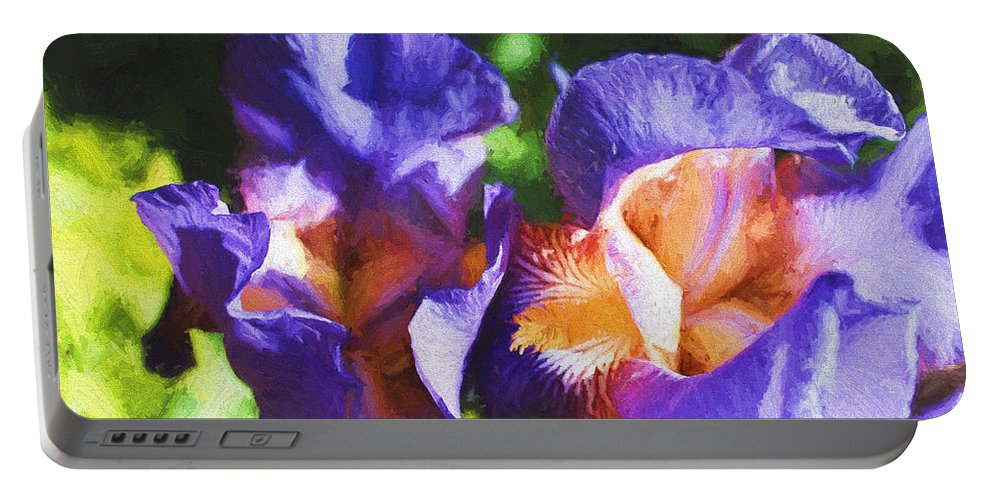 Iris Portable Battery Charger featuring the digital art Amazing Iris by Cathy Anderson