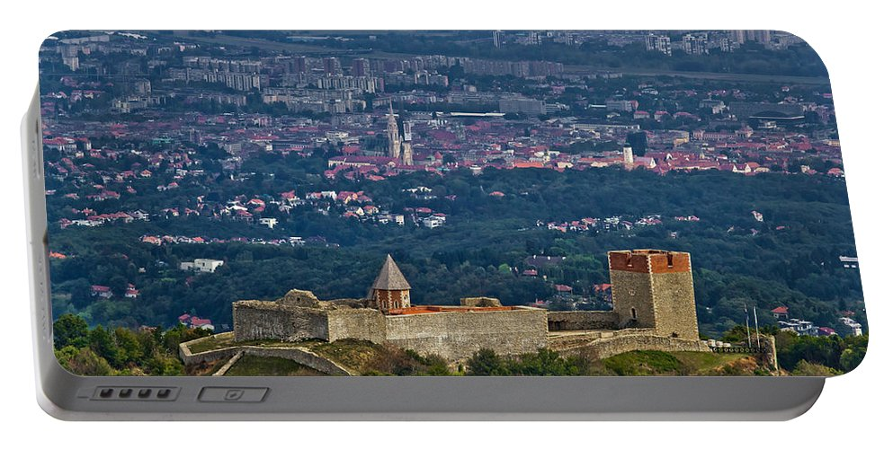 Croatia Portable Battery Charger featuring the photograph Amazing Medvedgrad Castle And Croatian Capital Zagreb by Brch Photography