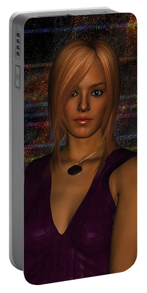 Pretty Woman Portable Battery Charger featuring the digital art Amber Digital Portait by Judi Suni Hall