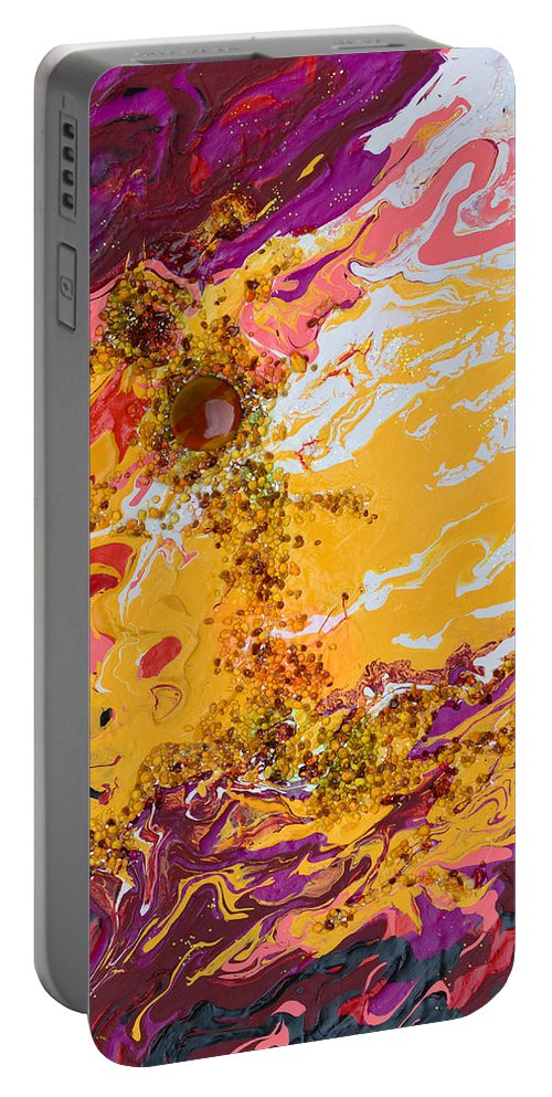 Amber Portable Battery Charger featuring the mixed media Amber Sun by Donna Blackhall
