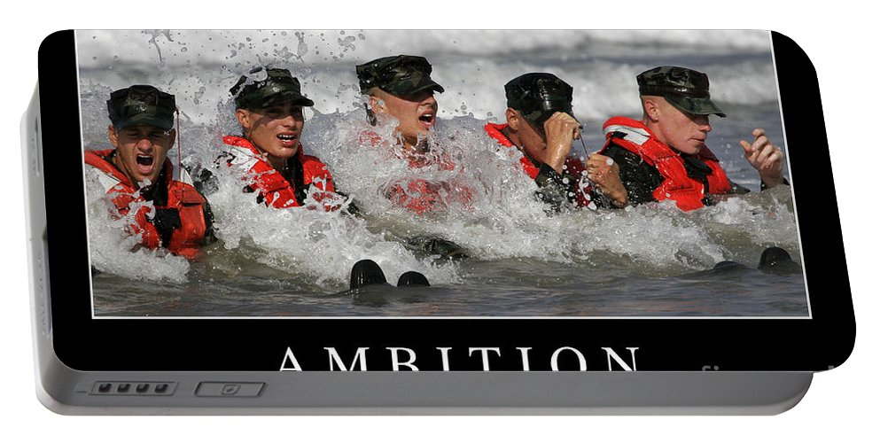 Horizontal Portable Battery Charger featuring the photograph Ambition Inspirational Quote by Stocktrek Images