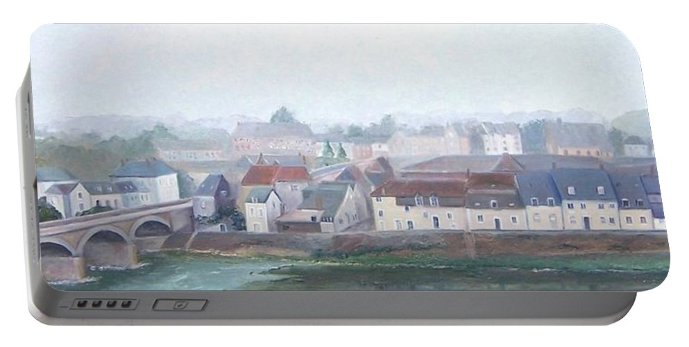Amboise Portable Battery Charger featuring the painting Amboise And The Loire River France by Jan Matson