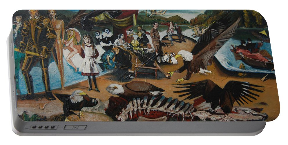 Unfinished Portable Battery Charger featuring the painting America The Beautiful by Jude Darrien