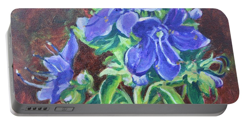 American Bellflower Portable Battery Charger featuring the painting American Bellflower by Jan Bennicoff