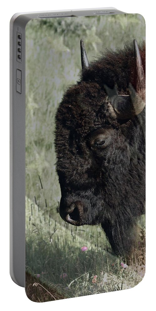 American Bison Portable Battery Charger featuring the digital art American Bison by Ernie Echols