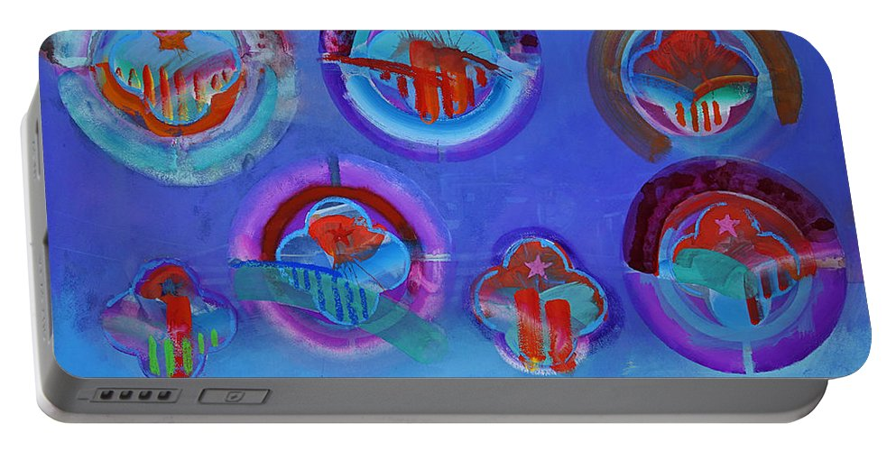 Texas Art Portable Battery Charger featuring the digital art American Blue by Charles Stuart