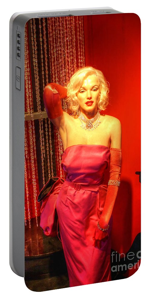 Blonde Portable Battery Charger featuring the digital art American Cinema Icons - Norma Jean by Dan Stone
