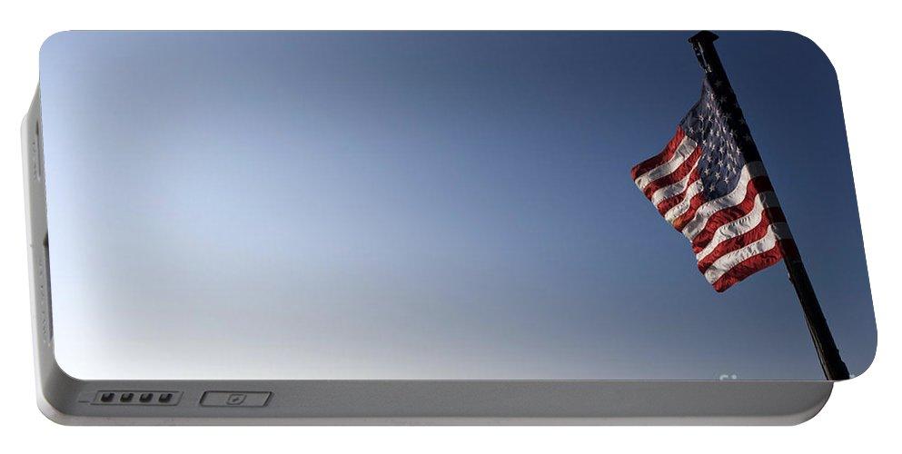 San Francisco Portable Battery Charger featuring the photograph American Flag San Francisco Skyline by Jason O Watson