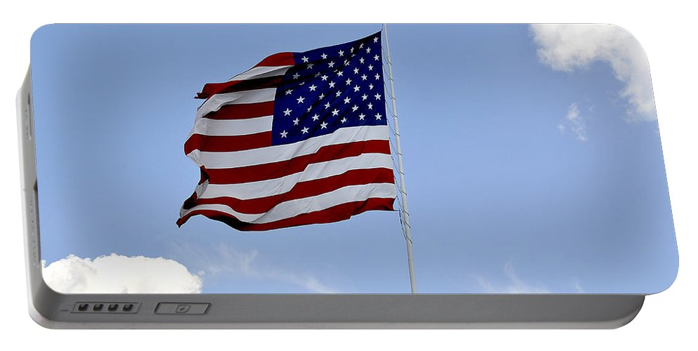 American Flag Portable Battery Charger featuring the photograph American Flag by Verana Stark