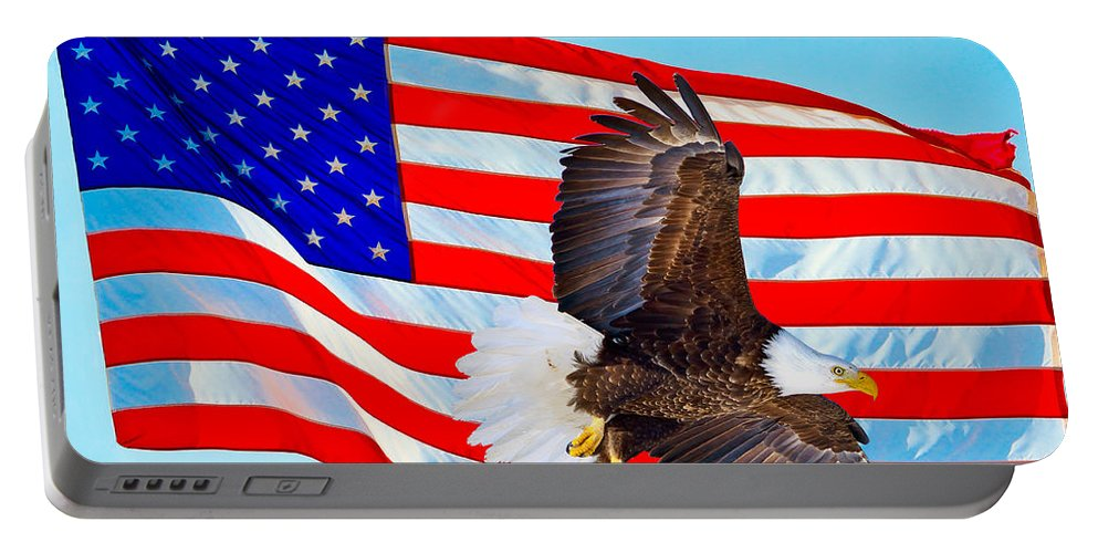 American Flag Portable Battery Charger featuring the photograph American Flag With Bald Eagle by Greg Norrell