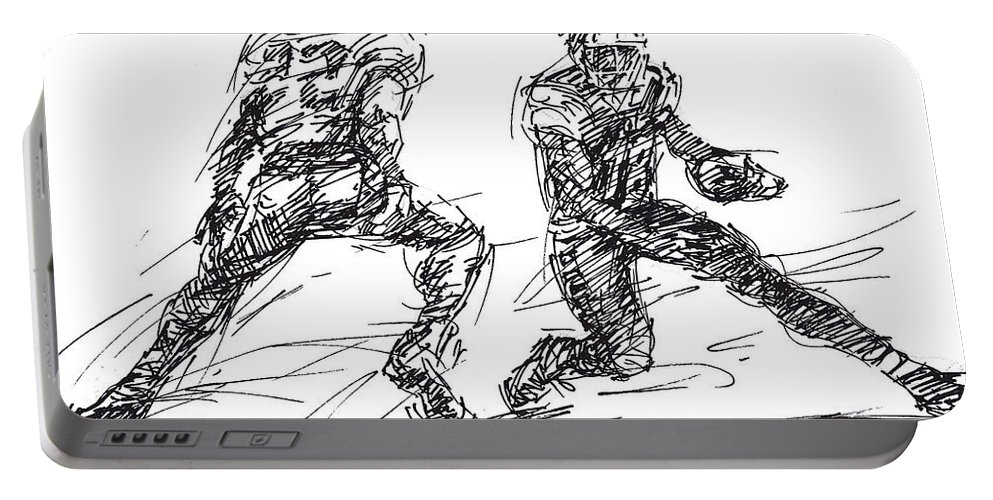 American Football Portable Battery Charger featuring the drawing American Football 3 by Ylli Haruni