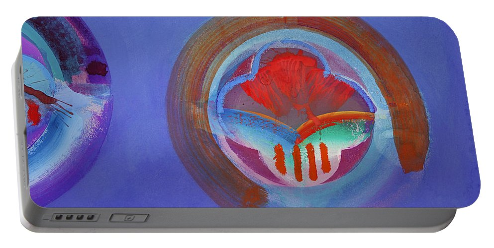 Texas Art Portable Battery Charger featuring the painting American Gothic Button by Charles Stuart
