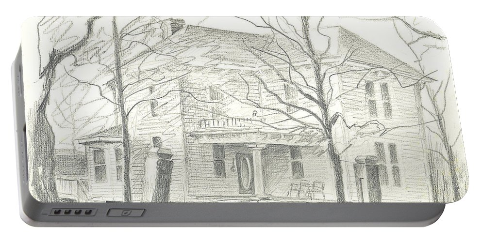 American Home Ii Portable Battery Charger featuring the drawing American Home II by Kip DeVore