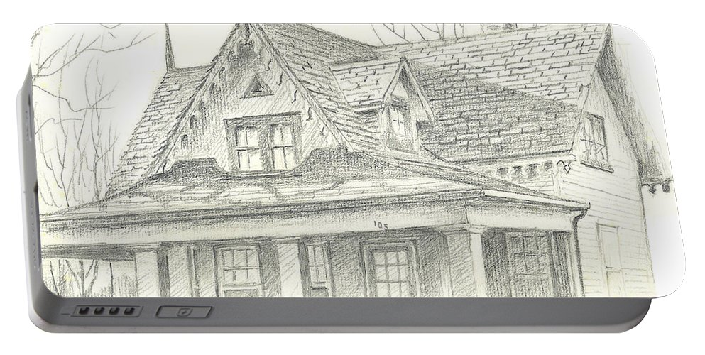 American Home Portable Battery Charger featuring the drawing American Home by Kip DeVore