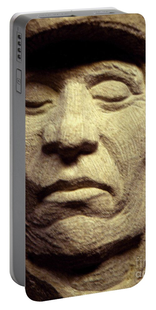 American Indians Portable Battery Charger featuring the sculpture American-indian-portrait 2 by Gordon Punt