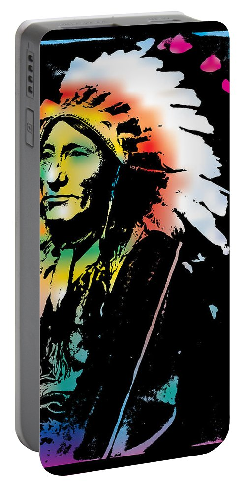 Gary Grayson Portable Battery Charger featuring the digital art American Indian Silo by Gary Grayson