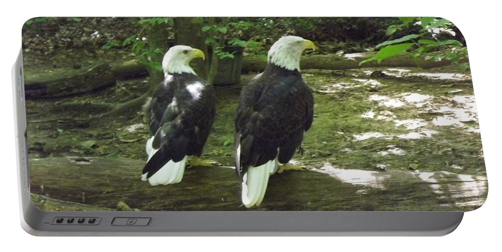 Bald Eagle Portable Battery Charger featuring the digital art American Pride by Barkley Simpson