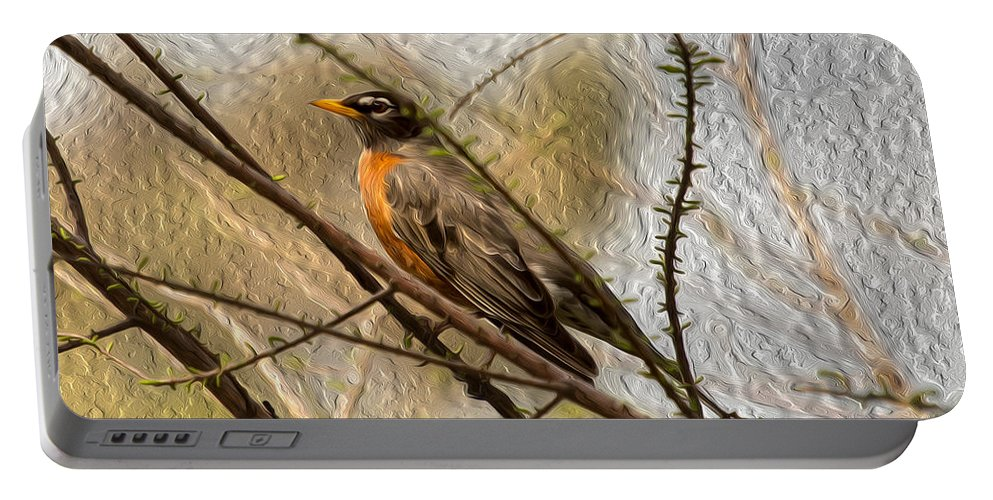 American Robin Portable Battery Charger featuring the photograph American Robin On A Branch by John M Bailey