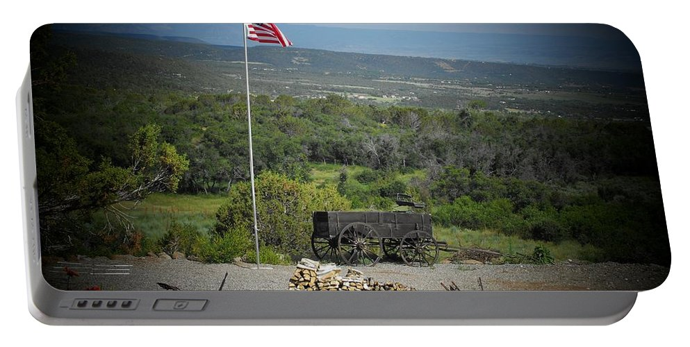 Usa Portable Battery Charger featuring the photograph American Wagon by Brandi Maher
