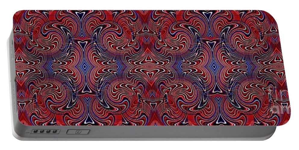 Americana Portable Battery Charger featuring the digital art Americana Swirl Banner 3 by Sarah Loft