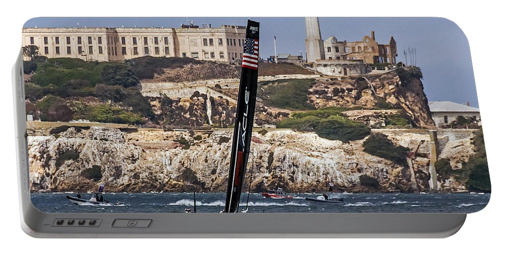 Alcatraz Portable Battery Charger featuring the photograph Americas Cup Oracle Team And Alcatraz by Kate Brown