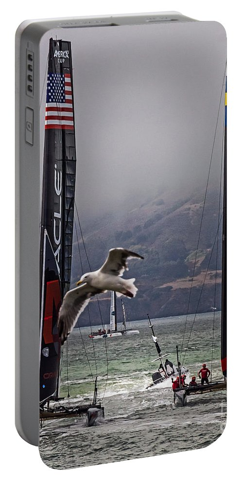 America's Cup Portable Battery Charger featuring the photograph Americas Cup Oracle Team Usa V Artemis Racing by Kate Brown