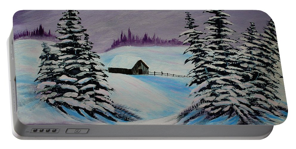 Barbara Griffin Portable Battery Charger featuring the painting Amethyst Evening After Ross by Barbara Griffin