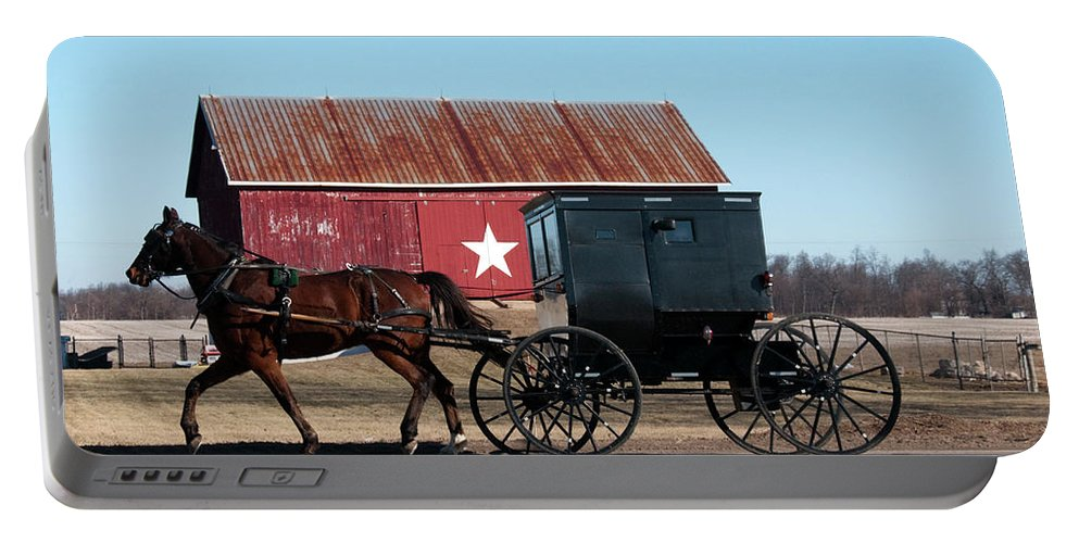 Barn Portable Battery Charger featuring the photograph Amish Buggy And Star Barn by David Arment