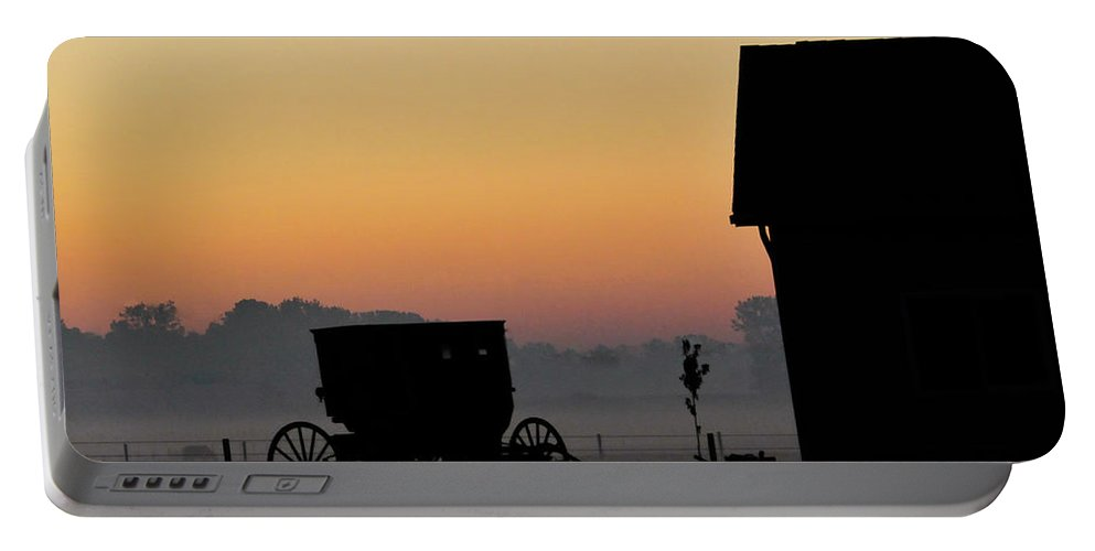 Amish Buggy Portable Battery Charger featuring the photograph Amish Buggy Before Dawn by David Arment