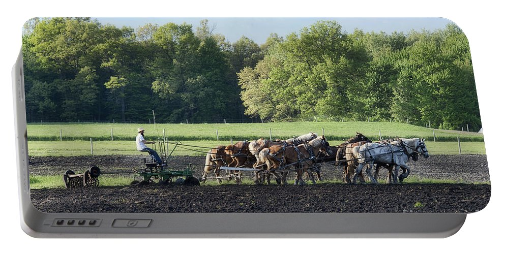 Amish Portable Battery Charger featuring the photograph Amish Plowing Field by David Arment