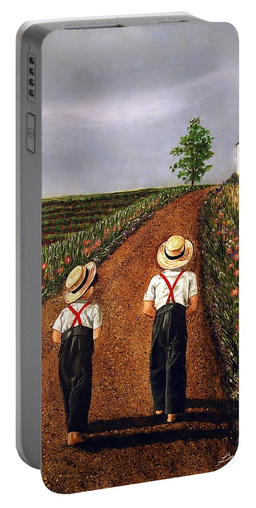 Lifestyle Portable Battery Charger featuring the painting Amish Road by Linda Simon