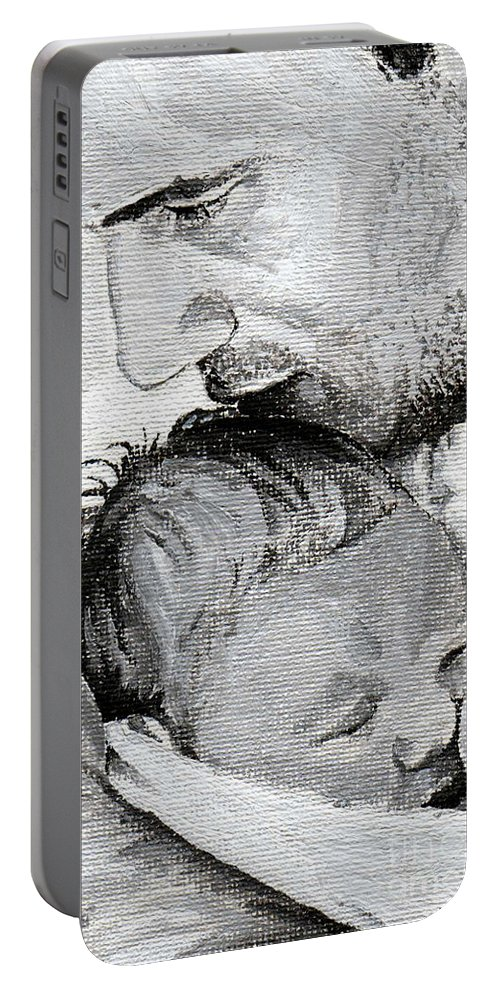 Father Portable Battery Charger featuring the painting Amit And Mika by Tamir Barkan