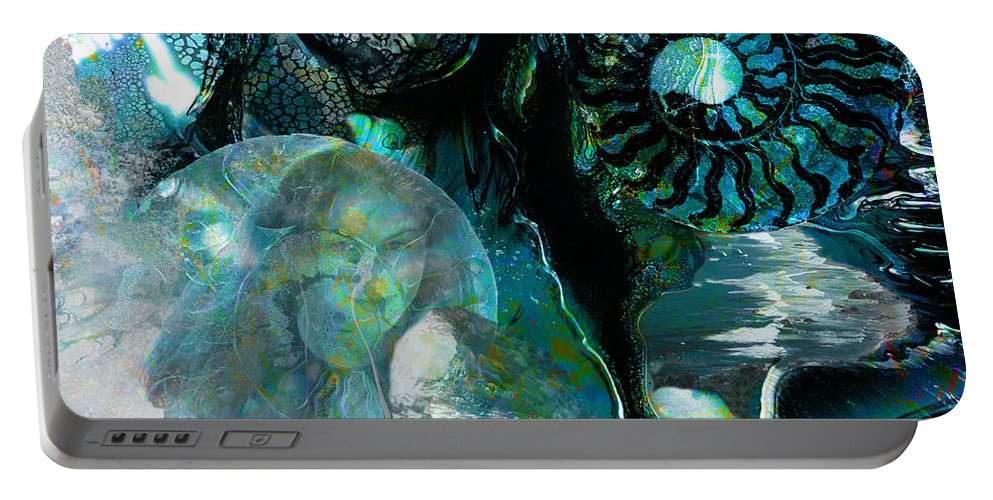 Ocean Portable Battery Charger featuring the digital art Ammonite Seascape by Lisa Yount