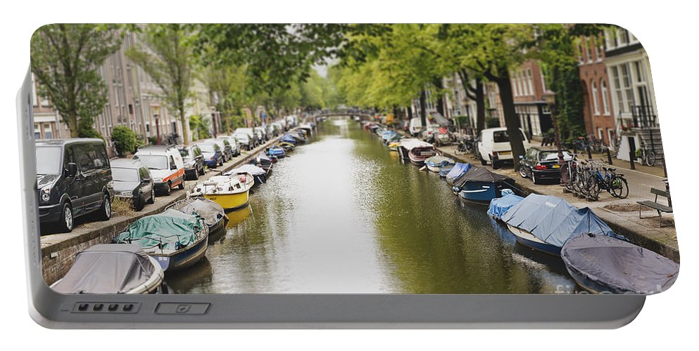 Photography Portable Battery Charger featuring the photograph Amsterdam Canal by Ivy Ho
