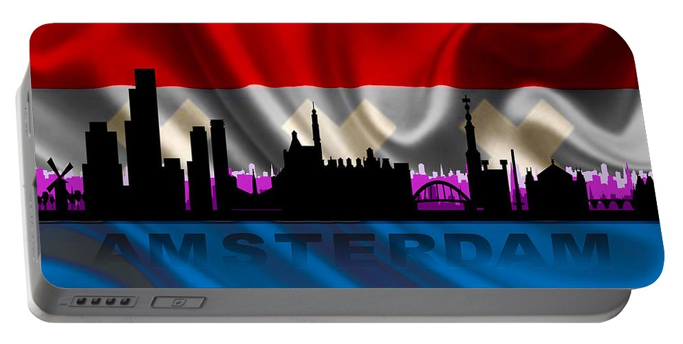 Architecture Portable Battery Charger featuring the digital art Amsterdam City by Don Kuing
